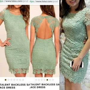 Lulus hidden Talent Backless Sage Green Lace Dress